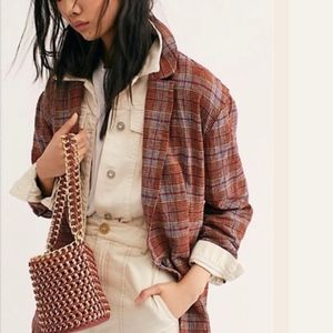 Free People Oversized Plaid Blazer NWT